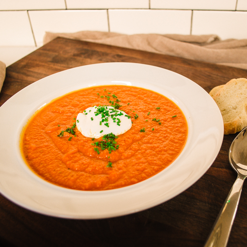 creme fraiche carrot soup with sour cream and thyme garnish stock ...