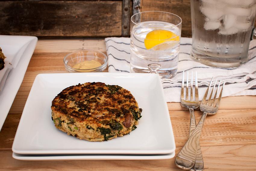 quinoa, kale and mushroom burgers