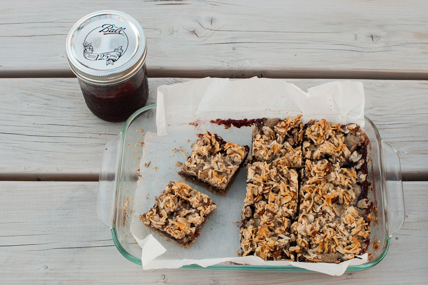 raspberry coconut gluten free bars