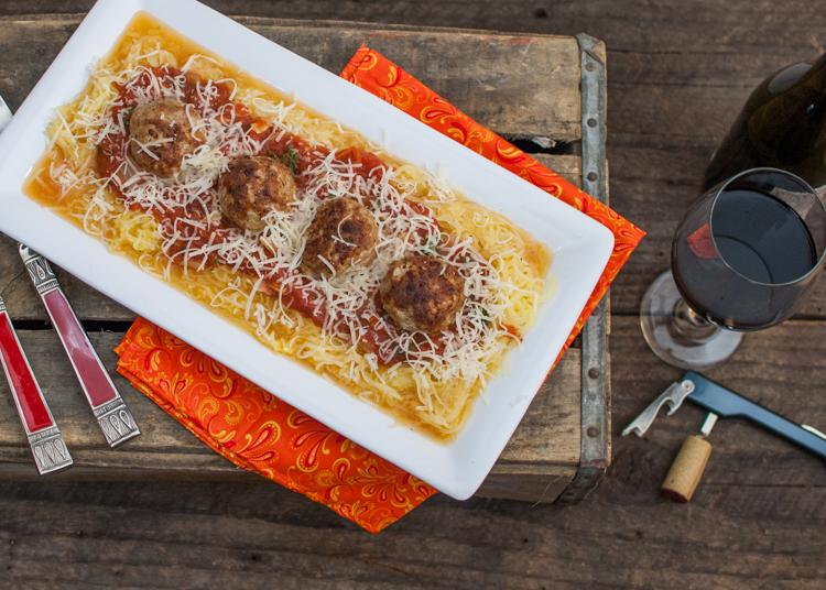 Spaghetti Squash with Turkey Meat Balls