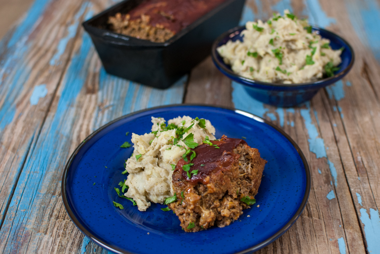 Meatloaf with Browned Butter Mashed Potatoes