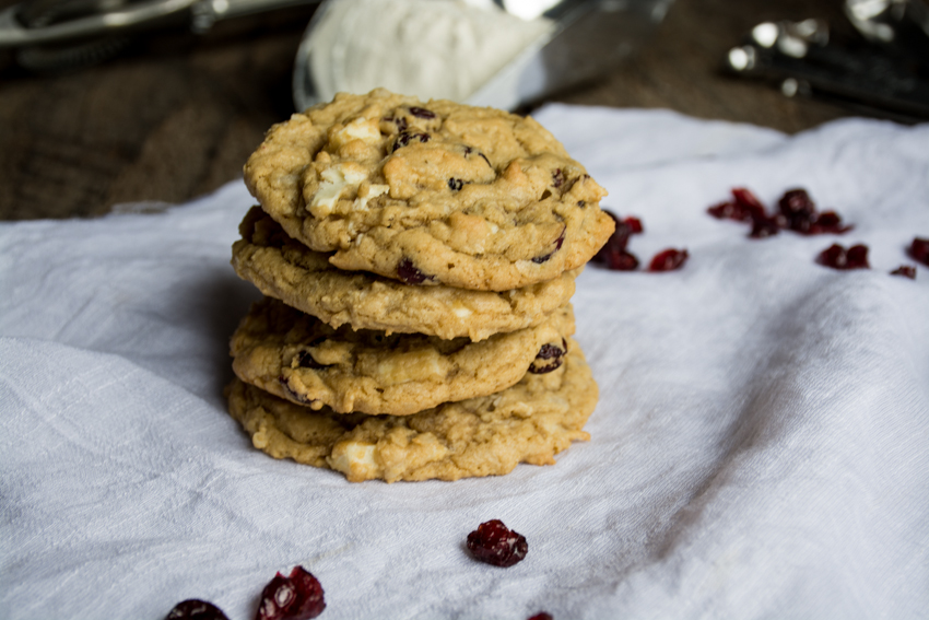 white chocolate, cranberry, coconut cookies