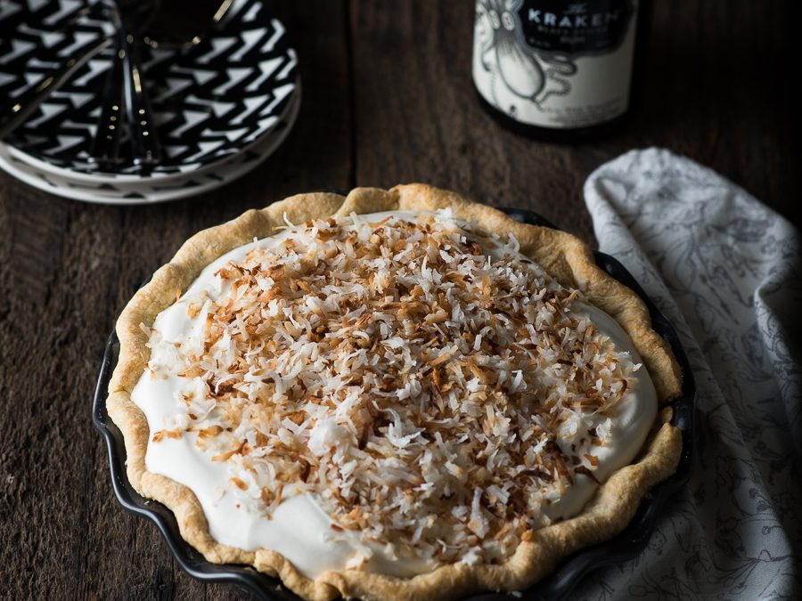 Banana Cream Pie with Rum Caramel Sauce