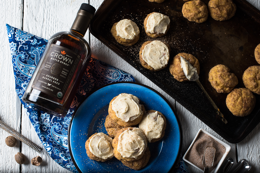 Chai Snickerdoodle Cookies with Bourbon Maple Frosting